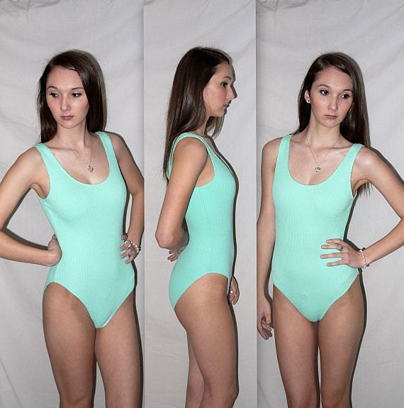 JazzHerSize ... Vintage 80s onsie bodysuit  / one piece swimsuit / high cut / bathing suit maillot / tank leotard ... S  M / bust 34