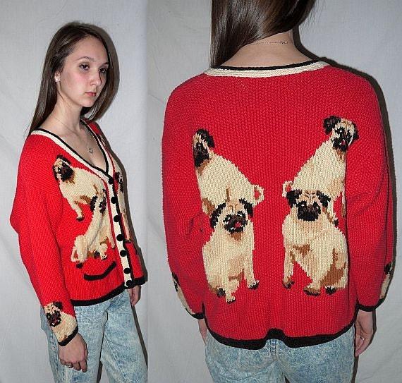 Knitting Pattern For Pug Jumper : Pet sitter .... Vintage 80s 90s pug cardigan sweater