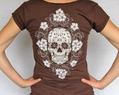 Calavera with Periwinkles womens t shirt - chocolate v neck tee - graphic - ladies Large - sugar skull tshirt - day of the dead tshirt