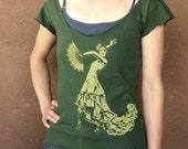 Flamenco womens tshirt - wide-cut scoop neck tee - olive green - screenprint - Large