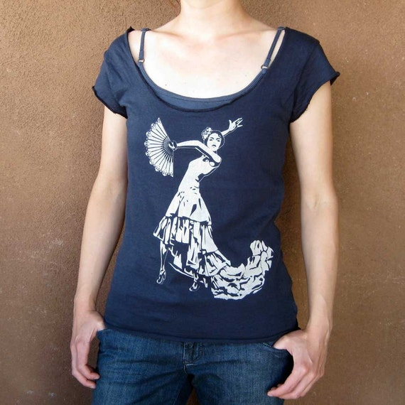 Flamenco Womens T Shirt Wide Cut Scoop Neck Ladies Tee