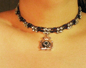 Robot Choker with rhinestone clusters..