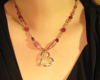 Love candy rhinestone and glass necklace