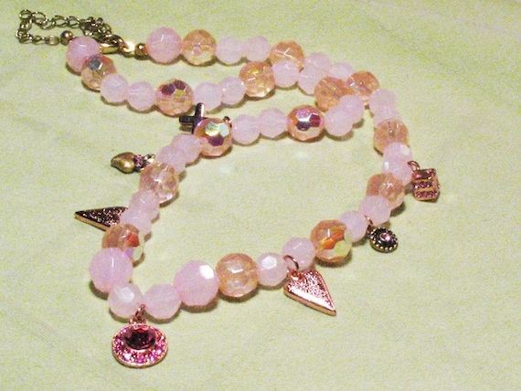 Pretty in Pink..hearts charm necklace