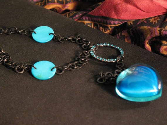 Black and blue chained heart