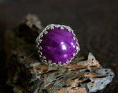 Reconstituted Sugilite Stone set in Sterling Silver Ring - Size 6