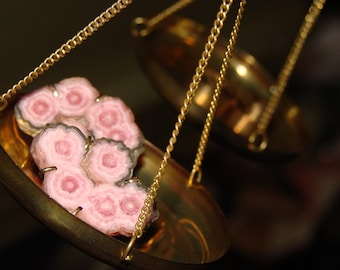 Pretty in Pink OOAK 14k and Rhodocrosite Cross Section Earrings