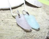 Natural Maine Sea Glass Necklace - Rare Lavender and Aqua