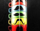 Six stackable mustache mug set  handpainted