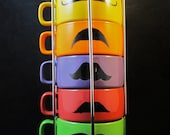 Kiln Fired Pastel Color Six Stackable Mustache Mug Set -Handpainted