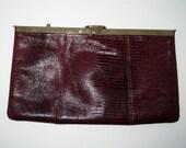 60s 70s Vintage Etra Designer Leather Purse Clutch Red with Goldtone Metal Trim