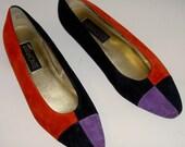 Vintage Red Black Purple Color Block Ballet Flats Size 10M 1980s