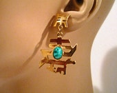 1970s Vintage Pierced Earrings Jade Look with Gold Tone Asian Motif