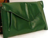 Vintage Dunhill Green Leather Change Purse or Small Clutch Handbag 1960s