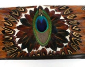 Vintage Feather and Leather Billfold Clutch 20th Century