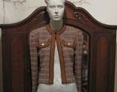 Vintage 80s Castleberry Boucle Knit Blazer Jacket Size 4