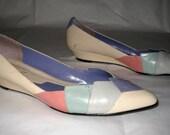 Size 10M Vintage Pastel Wedge Heel Ballet Flats Color Block 1980s Gloria Vanderbilt
