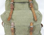 1950s Swiss Army Salt & Pepper Canvas backpack daypack bag rucksack leather