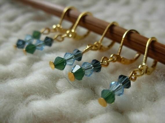 Removable Stitch Markers Swarovski - 5 Blue and Green Swarovski Crystal Stitch Markers for Crochet and Knitting
