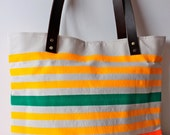 Neon and Neutral Canvas Tote Bag with Leather Straps---sunshine-teal-flame-