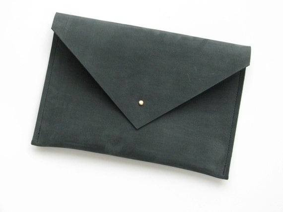 SALE -- Large Leather Envelope Clutch in Smoke Gray/Green