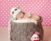 Newborn Photography prop - Baby crochet sock monkey hat