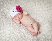 Baby Crochet Flower Hat - Newborn Photography prop in white and pink - sizes newborn to toddler