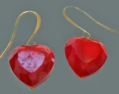Little Red Heart  Dangle Drop Earrings Trendy and Chic Fashion Jewelry