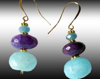 Violet  Amethyst Teal  Blue Agate Gemstones  Dangle Earrings L