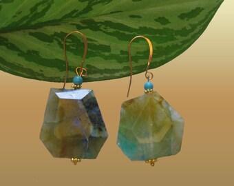 Green Jade Slabs  and Blue Turquoise Dangle  Earrings Jade  Jewerly xLarge