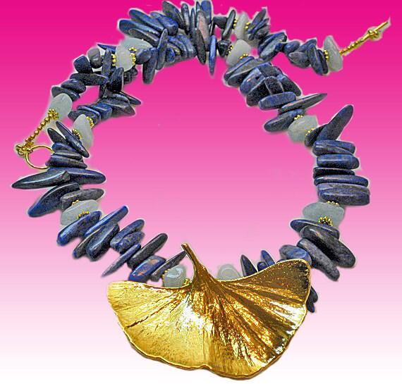 Romantic Night Lapis Lazuli and Gold Gingko Leaf Necklace