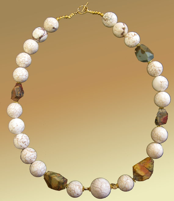 White Organic Turquoise Round Stones And Bronze Brown  Jasper  Nuggets Necklace xLarge