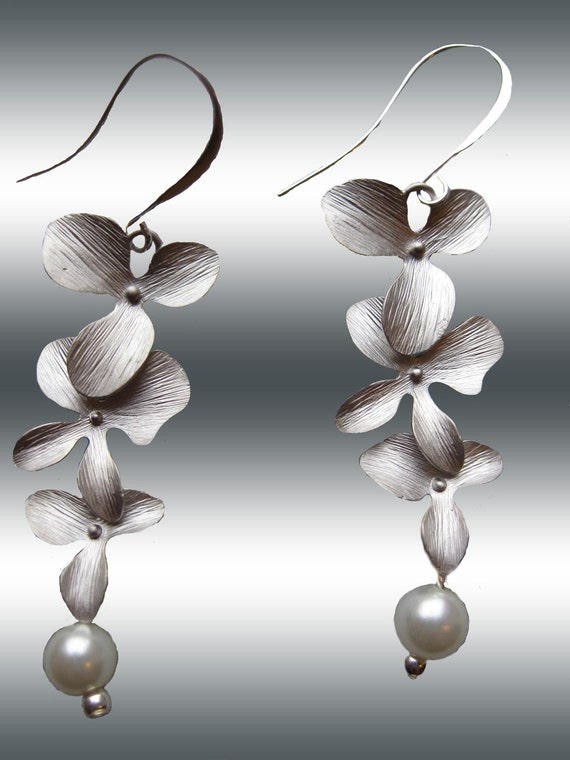 White Pearl and Silver Matte  Orchid Trio Dangle Earrings Bridesmaids L