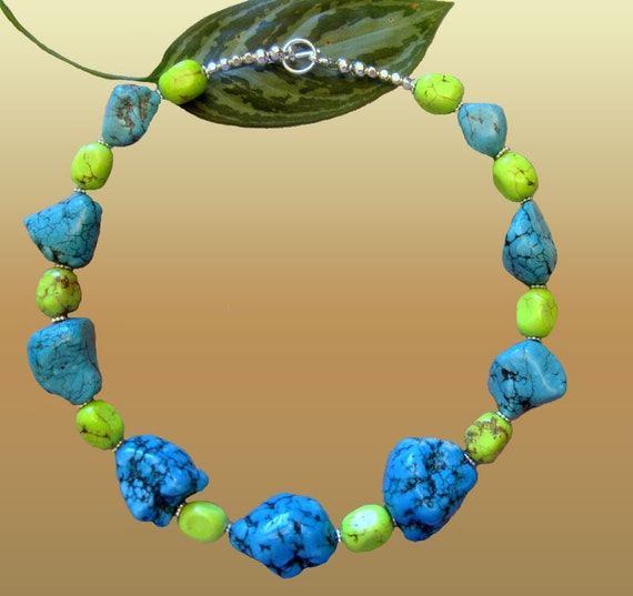 Lime Green Teal Blue Large Irregular Turquoise Multi Stone Choker L Elegant Trendy Turquoise Jewerly