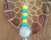 Natural Willow Dream Catcher w/ Blue/Green and Grey Parrot Feathers