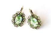 Green grass earrings, floral, eco,FREE SHIPPING, green beads, baroque