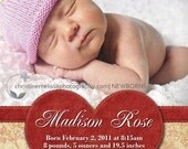 Custom Personalized Printable Birth Announcement -RED HEART