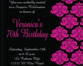 Custom Personalized Printable Invitation - HOT PINK DAMASK