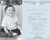 Personalizable Printable Communion/Baptism Invitation - BLUE