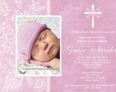 Personalizable Printable Baptism/Communion Invitation - TOILE OVERLAY