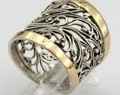 Great Handcrafted 9K Yellow Gold Sterling Silver Ring size 7 (s r11300