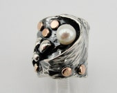 Hadar Jewelry  New Design Silver 9K Rose Gold Pearl  Ring size 7.5 - READY TO SHIP (ya 15)