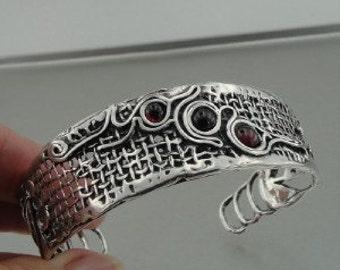 Handcrafted Wide Garnet Sterling Silver Cuff Bracelet (h 311