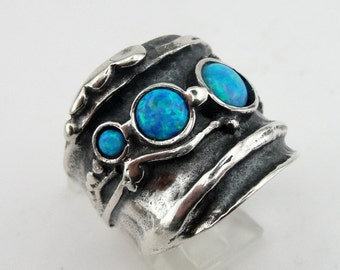 Reserved for richardbegun - Hadar  Jewelry Handcraffted Sterling Silver Lapiz Ring 12 (H 145) Y
