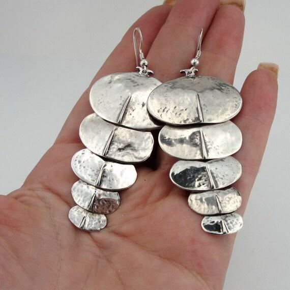 Hadar NEW Handmade long Art Sterling Silver Earrings (H2049)Y
