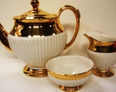 RESERVED FOR EMMIE - Teapot Creamer Sugar Bowl Royal Winton Grimwades Gold Lustre Tea Set