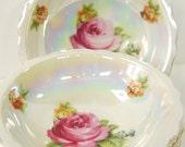 Antique Lustre Dessert Bowls 1920s Set of Four Czech Porcelain