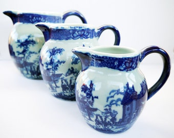 Pitchers Blue and White Set of 3  Ironstone Jugs English