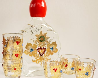 Retro Decanter and Glasses Souvenir Austria 1970s