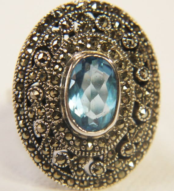 Blue Topaz and Marcasite Silver 925 Ring 1980s
